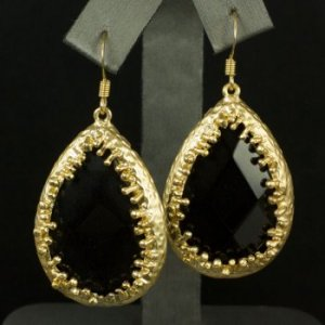 "Our ""Corinna"" Authentic Onyx teardrop earring in glistening gold! $42"