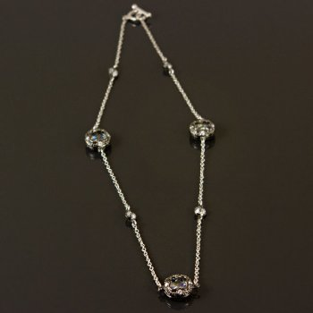 "Our ""Bethenny"" necklace in gunmetal and crystals $37"