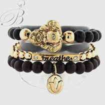 Namaste beaded bracelet in Onyx and crystals $28