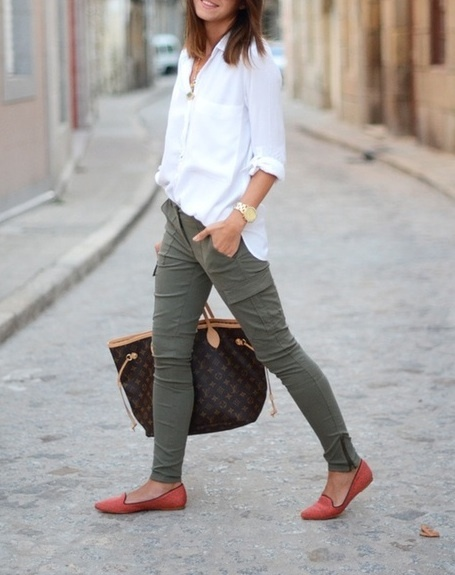 Clean white long sleeve blouse joined with slim fitted khakis make for a perfect comfy & cozy union!