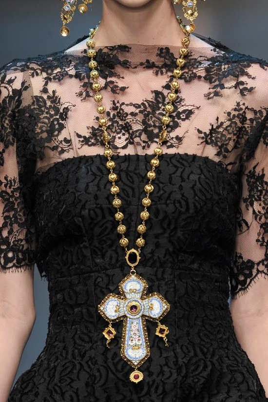 Ornate jeweled cross necklace pairs with delicate sheer lace for a true chic look!