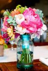 Summer wedding mason jar floral arrangements!
